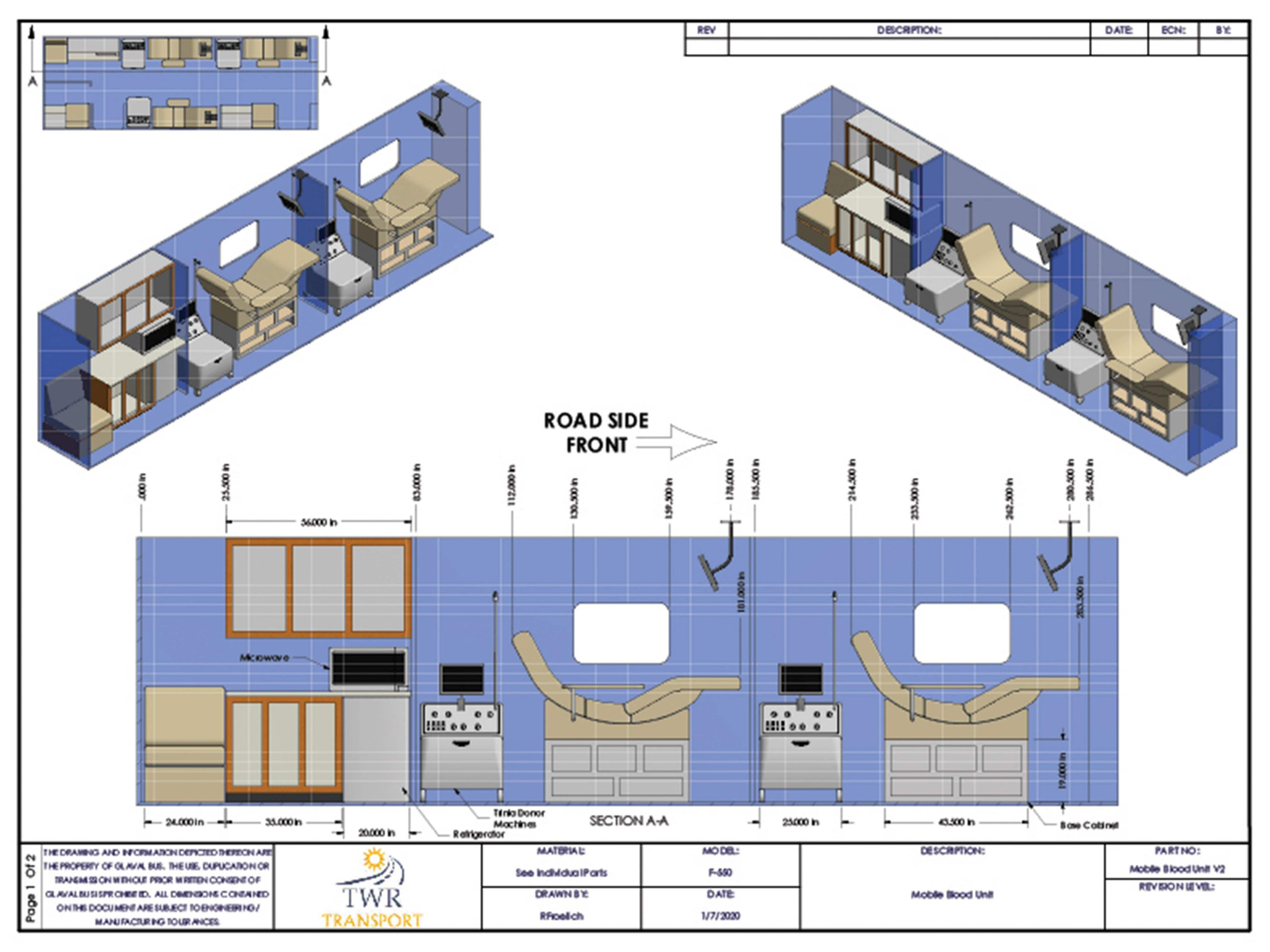 Diagram #2 of bus interior for Mobile Blood vehicle - TWR Transport & Dealer Services
