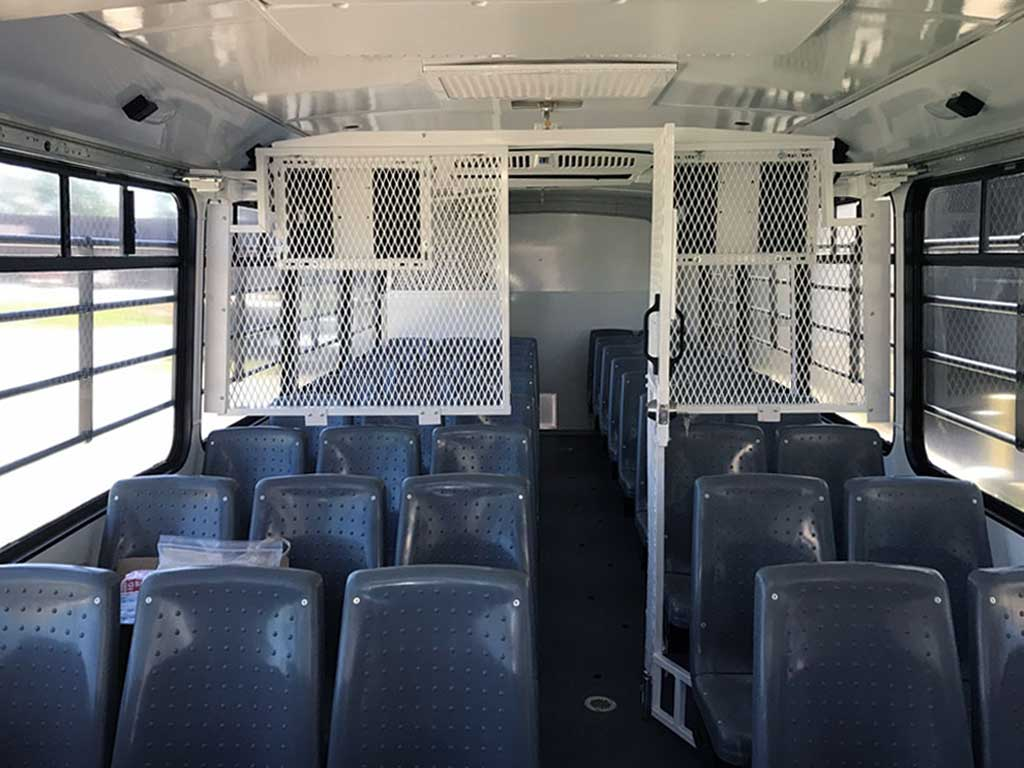 Prisoner bus - Front-to-Rear Seating - custom manufactured and fabricated by TWR Transport, Indiana