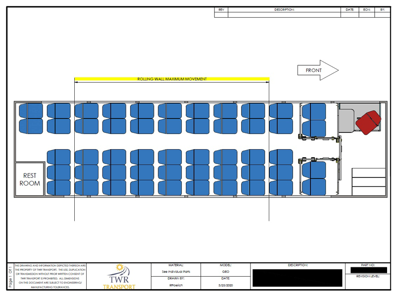Prisoner bus floor-plan custom manufactured and fabricated by TWR Transport, Indiana